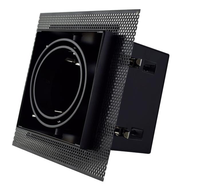 Led inbouw spot armatuur - 1x AR70 Zwart   Trimless