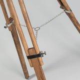 Vloerlamp Tripod Torch hout met chroom detail