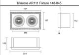 Led inbouw spot armatuur - 2x AR111 zwart | Trimless