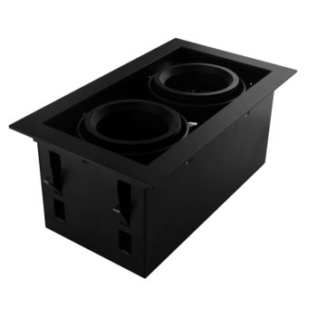Led inbouw spot armatuur - 2x AR70 Zwart   Opdekrand