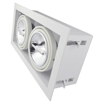 Led inbouw spot armatuur - 2x AR111 Wit   Opdekrand