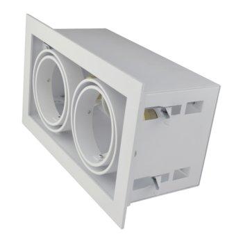 Led inbouw spot armatuur - 2x AR70 Wit   Opdekrand