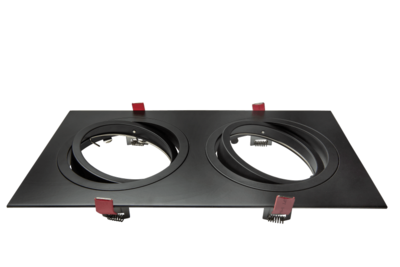 Led inbouw spot armatuur - 2x AR111/ES111 Zwart Vierkant | Richtbaar
