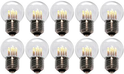 10 stuks LED Lamp E27 1W G45 Warm-wit 2700K