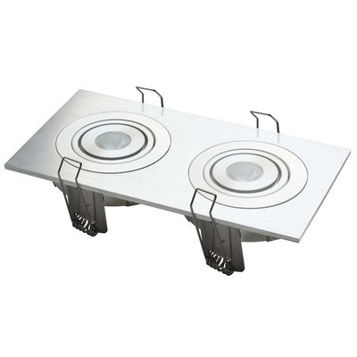Led inbouw spot armatuur - aluminium vierkant 2 gaats ECO