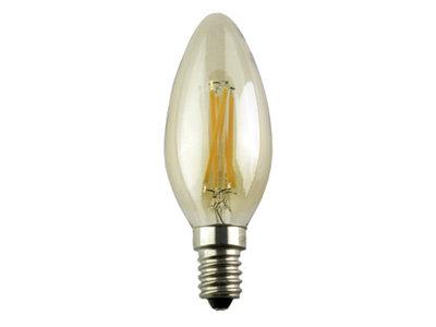 LED Filament Kaarslamp E14 4W 2200k GOLD