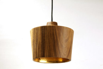 Hanglamp Hout Acacia Sharp Naturel/Goudblad