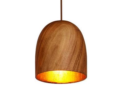 Hanglamp Hout Acacia Kelk Naturel/Goudblad