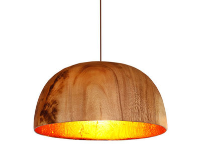 Hanglamp Hout Acacia Kelk Breed Naturel/Koperblad
