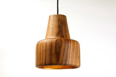 Hanglamp Hout Acacia Ice Cone Naturel/Goudblad
