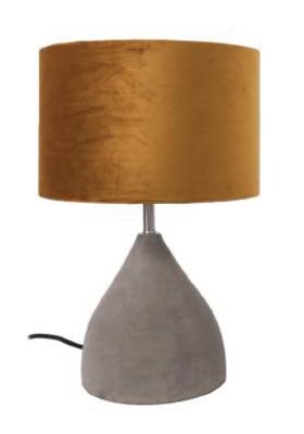 Tafellamp Hamden Beton | Velours Brons Lampenkap