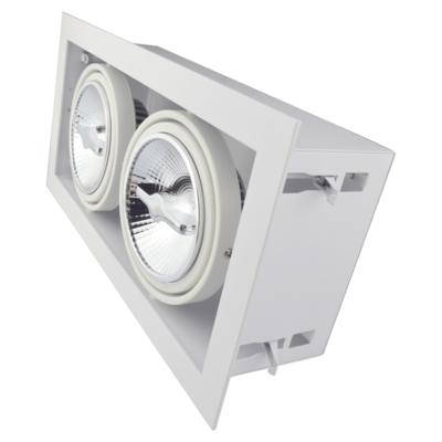 Led inbouw spot armatuur - 2x AR111 Wit | Opdekrand