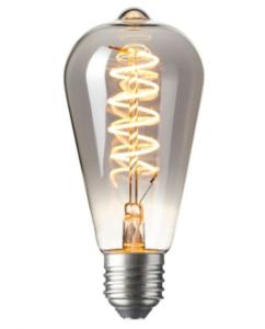 LED Kooldraadlamp Edison Curl Titanium | Ø64mm E27 4W | Dimbaar