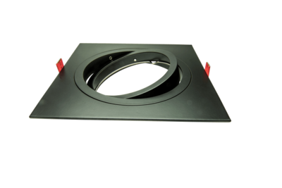 Led inbouw spot armatuur - 1x AR111ES111 Zwart Vierkant  Richtbaar