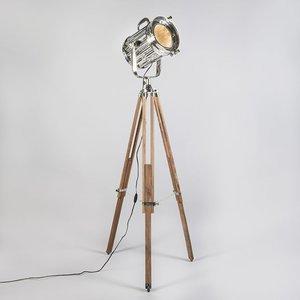 Vloerlamp Tripod Torch hout met chroom