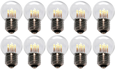 10 stuks LED Lamp E27 1W G45 Warm-wit 2700K - speciaal voor prikkabel bulk