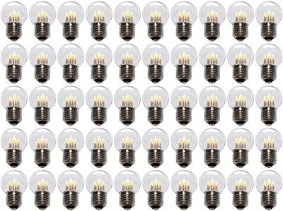 50 stuks LED Lamp E27 1W G45 Warm-wit 2700K - speciaal voor prikkabel bulk
