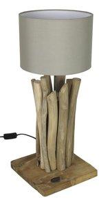 Tafellamp Teak Onbehandeld 30cm met zand kap