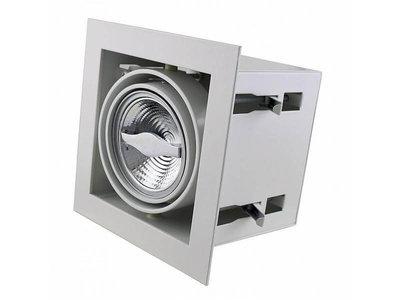 Led inbouw spot armatuur - 1x AR70 Wit | Opbouw