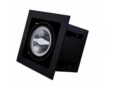 Led inbouw spot armatuur - 1x AR70 Zwart | Opbouw