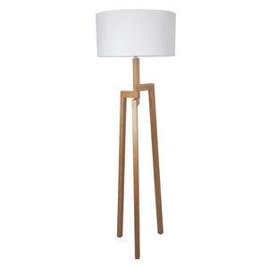 Vloerlamp Aleo 175Cm | Ronde witte kap