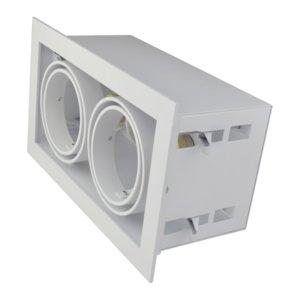 Led inbouw spot armatuur - 2x AR70 Wit | Opdekrand