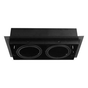 Led inbouw spot armatuur - 2x AR70 Zwart | Trimless